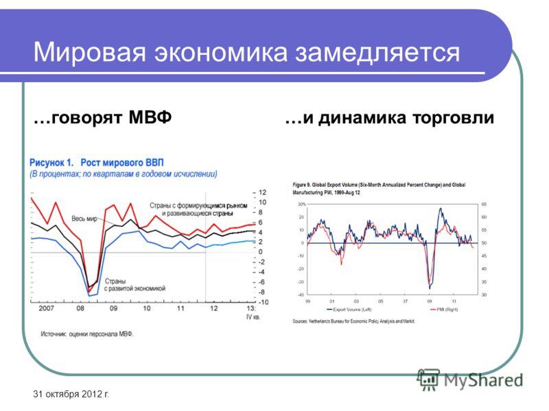 Мировая экономика замедляется …говорят МВФ…и динамика торговли 31 октября 2012 г.