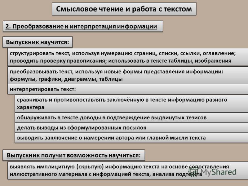 Смысловое чтение и работа с текстом 2. Преобразование и интерпретация информации структурировать текст, используя нумерацию страниц, списки, ссылки, оглавление; проводить проверку правописания; использовать в тексте таблицы, изображения Выпускник нау