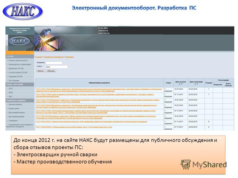 До конца 2012 г. на сайте НАКС будут размещены для публичного обсуждения и сбора отзывов проекты ПС: - Электросварщик ручной сварки - Мастер производственного обучения До конца 2012 г. на сайте НАКС будут размещены для публичного обсуждения и сбора о