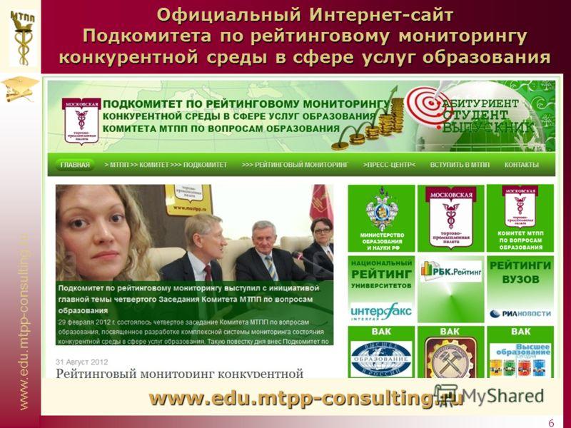 www.edu.mtpp-consulting.ru 6 Официальный Интернет-сайт Подкомитета по рейтинговому мониторингу конкурентной среды в сфере услуг образования www.edu.mtpp-consulting.ru