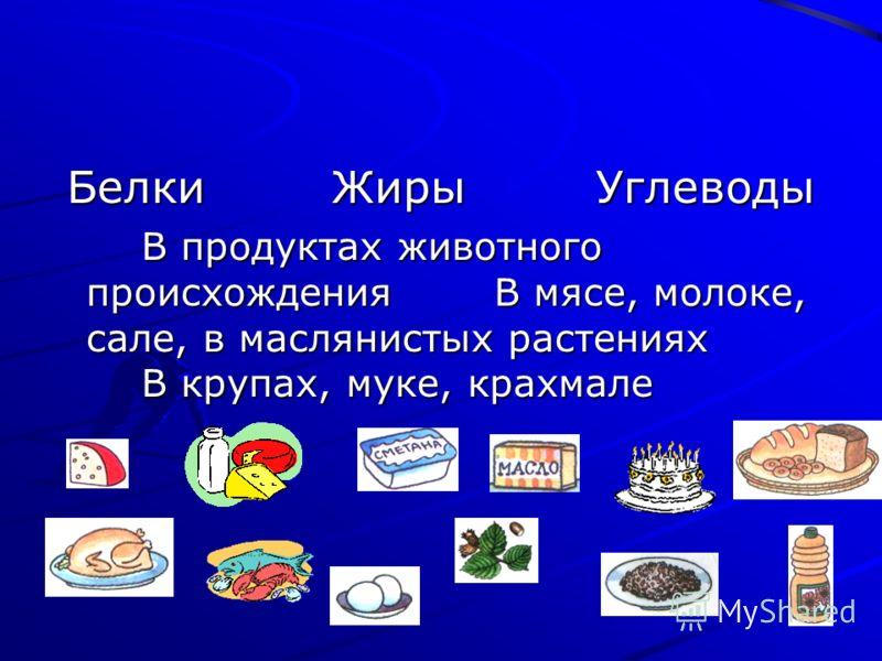 БелкиЖирыУглеводы В продуктах животного происхожденияВ мясе, молоке, сале, в маслянистых растениях В крупах, муке, крахмале