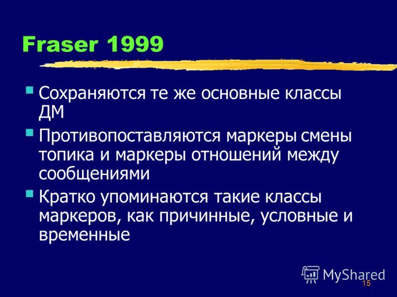 15 Fraser 1999 Сохраняются те же основные классы ДМ Противопоставляются маркеры смены топика и маркеры отношений между сообщениями Кратко упоминаются такие классы маркеров, как причинные, условные и временные