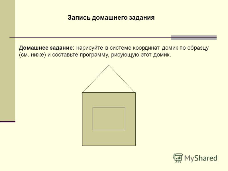 Запись домашнего задания Домашнее задание: нарисуйте в системе координат домик по образцу (см. ниже) и составьте программу, рисующую этот домик.