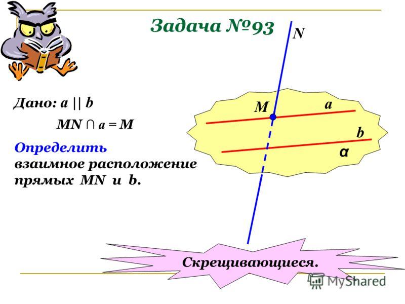 Задача 93 α a b М N Дано: a    b MN a = M Определить взаимное расположение прямых MN u b. Скрещивающиеся.