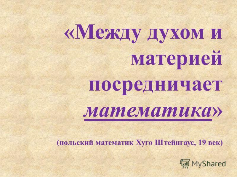 «Между духом и материей посредничает математика» (польский математик Хуго Штейнгаус, 19 век)