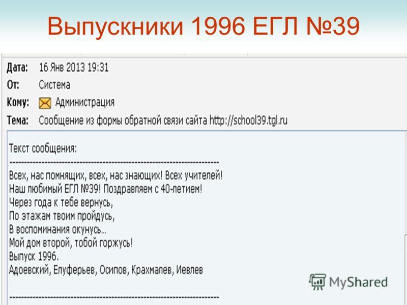 Выпускники 1996 ЕГЛ 39