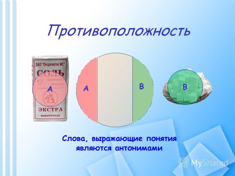 Противоположность А В А В Слова, выражающие понятия являются антонимами