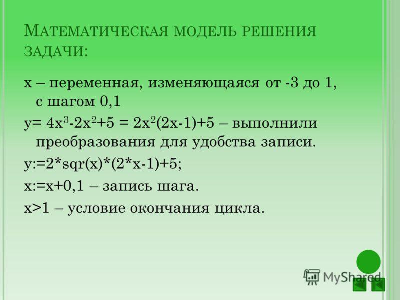 М АТЕМАТИЧЕСКАЯ МОДЕЛЬ РЕШЕНИЯ ЗАДАЧИ : х – переменная, изменяющаяся от -3 до 1, с шагом 0,1 y= 4x 3 -2x 2 +5 = 2х 2 (2х-1)+5 – выполнили преобразования для удобства записи. y:=2*sqr(x)*(2*x-1)+5; x:=х+0,1 – запись шага. х>1 – условие окончания цикла