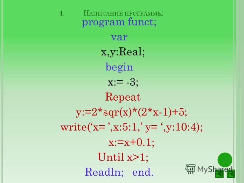 4.Н АПИСАНИЕ ПРОГРАММЫ program funct; var x,y:Real; begin x:= -3; Repeat y:=2*sqr(x)*(2*x-1)+5; write(x=,x:5:1, y=,y:10:4); x:=x+0.1; Until x>1; Readln; end.