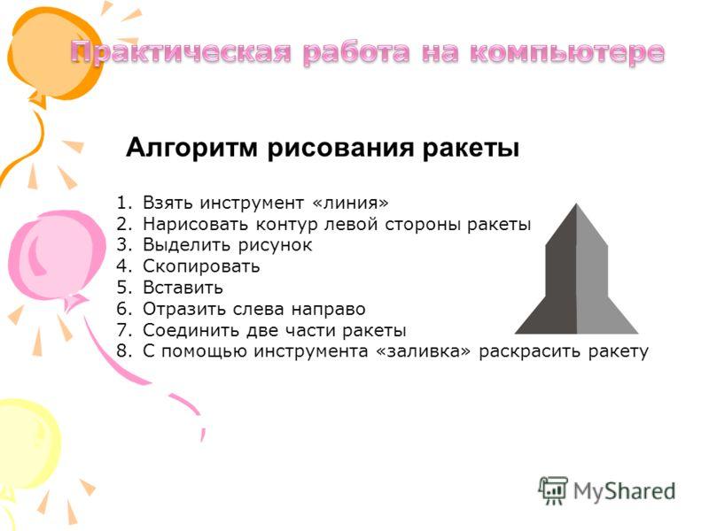 Алгоритм рисования ракеты 1.Взять инструмент «линия» 2.Нарисовать контур левой стороны ракеты 3.Выделить рисунок 4.Скопировать 5.Вставить 6.Отразить слева направо 7.Соединить две части ракеты 8.С помощью инструмента «заливка» раскрасить ракету