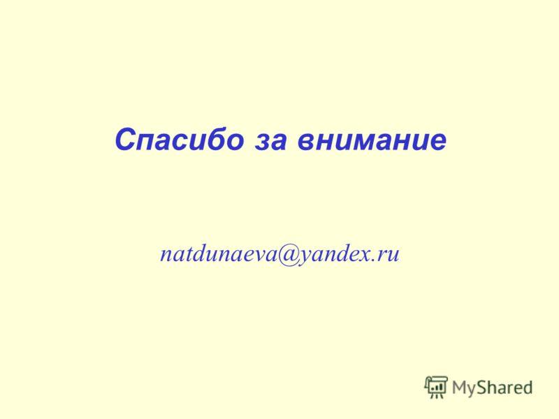 Спасибо за внимание natdunaeva@yandex.ru