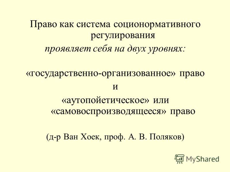 Право как система соционормативного регулирования проявляет себя на двух уровнях: «государственно-организованное» право и «аутопойетическое» или «самовоспроизводящееся» право (д-р Ван Хоек, проф. А. В. Поляков)