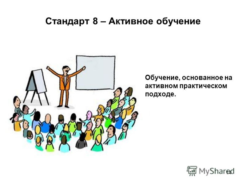 14 Стандарт 8 – Активное обучение Обучение, основанное на активном практическом подходе.