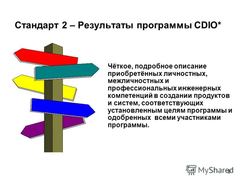8 Стандарт 2 – Результаты программы CDIO* Чёткое, подробное описание приобретённых личностных, межличностных и профессиональных инженерных компетенций в создании продуктов и систем, соответствующих установленным целям программы и одобренных всеми уча