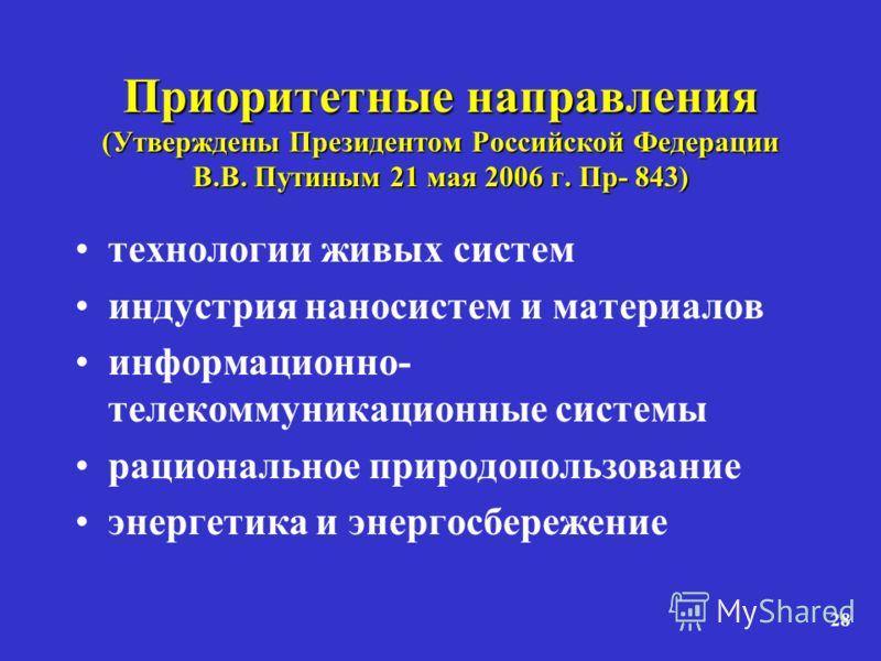 28 Приоритетные направления (Утверждены Президентом Российской Федерации В.В. Путиным 21 мая 2006 г. Пр- 843) технологии живых систем индустрия наносистем и материалов информационно- телекоммуникационные системы рациональное природопользование энерге