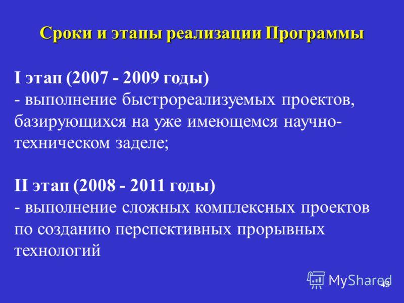 43 Сроки и этапы реализации Программы I этап (2007 - 2009 годы) - выполнение быстрореализуемых проектов, базирующихся на уже имеющемся научно- техническом заделе; II этап (2008 - 2011 годы) - выполнение сложных комплексных проектов по созданию перспе