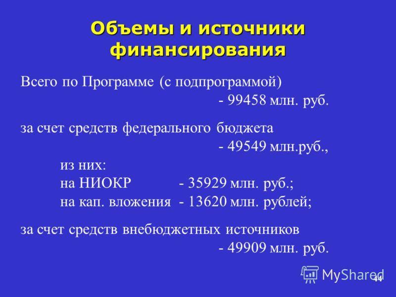44 Объемы и источники финансирования Всего по Программе (с подпрограммой) - 99458 млн. руб. за счет средств федерального бюджета - 49549 млн.руб., из них: на НИОКР - 35929 млн. руб.; на кап. вложения - 13620 млн. рублей; за счет средств внебюджетных