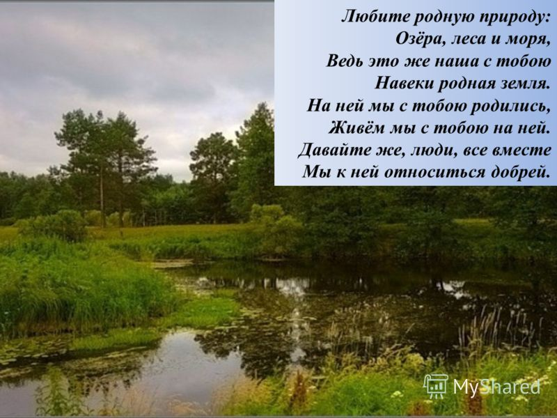Любите родную природу: Озёра, леса и моря, Ведь это же наша с тобою Навеки родная земля. На ней мы с тобою родились, Живём мы с тобою на ней. Давайте же, люди, все вместе Мы к ней относиться добрей.