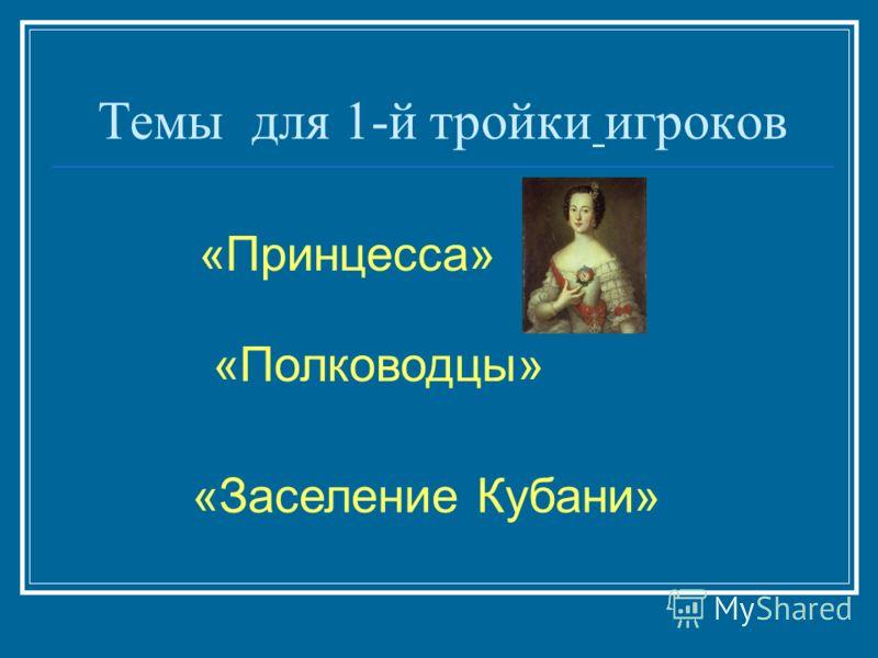 Темы для 1-й тройки игроков «Принцесса» «Заселение Кубани» «Полководцы»