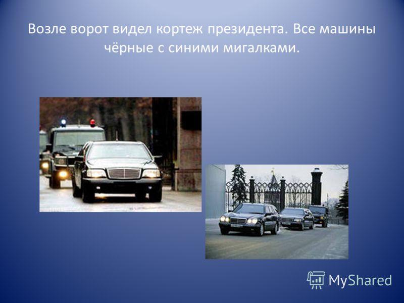 Возле ворот видел кортеж президента. Все машины чёрные с синими мигалками.