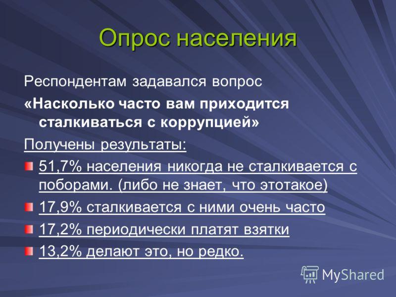 Опрос населения Респондентам задавался вопрос «Насколько часто вам приходится сталкиваться с коррупцией» Получены результаты: 51,7% населения никогда не сталкивается с поборами. (либо не знает, что этотакое) 17,9% сталкивается с ними очень часто 17,2