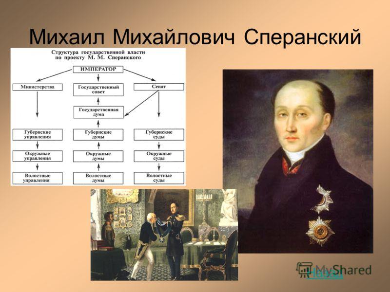 Михаил Михайлович Сперанский Назад