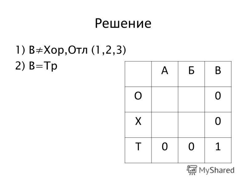 Решение 1)ВХор,Отл (1,2,3) 2)В=Тр АБВ О0 Х0 Т001