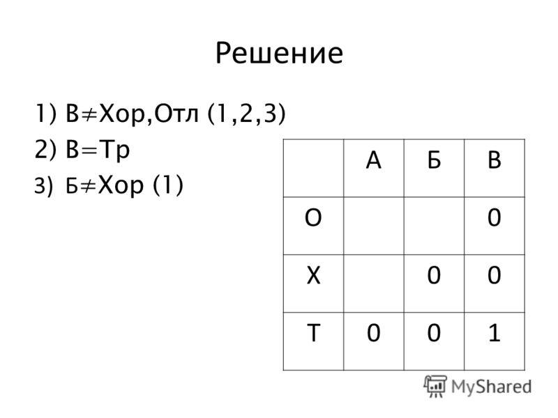 Решение 1)ВХор,Отл (1,2,3) 2)В=Тр 3)Б Хор (1) АБВ О0 Х00 Т001