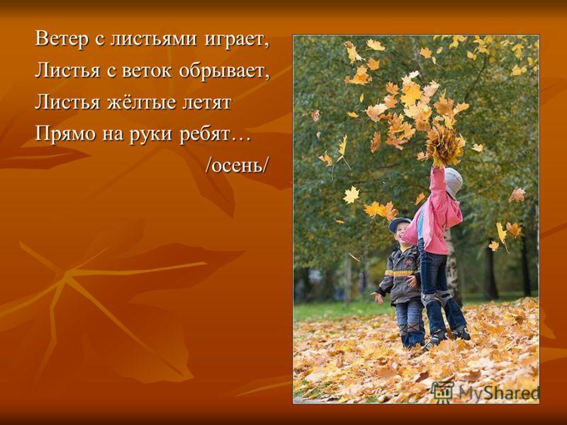 Ветер с листьями играет, Листья с веток обрывает, Листья жёлтые летят Прямо на руки ребят… /осень/ /осень/