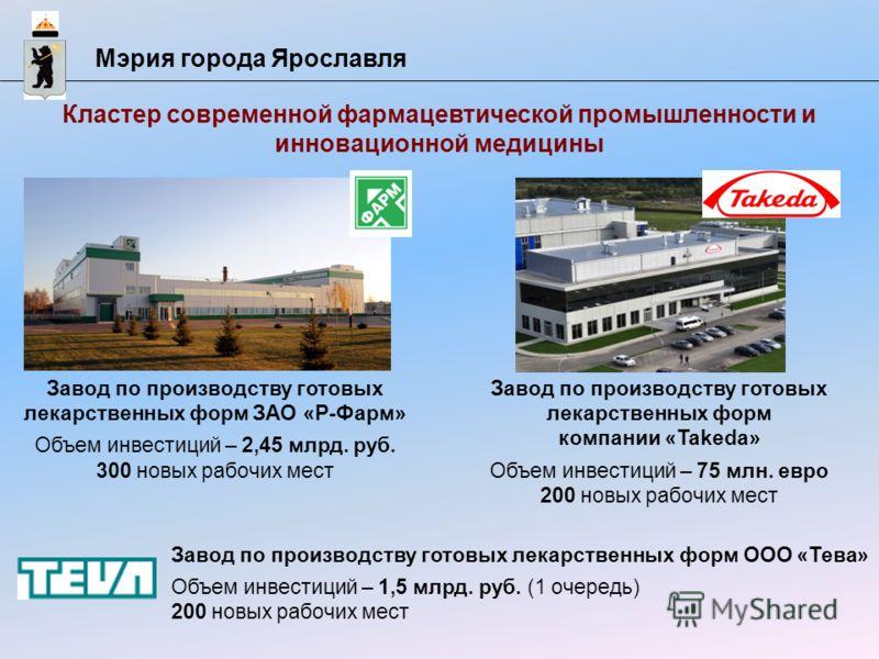 Мэрия города Ярославля Кластер современной фармацевтической промышленности и инновационной медицины Завод по производству готовых лекарственных форм ЗАО «Р-Фарм» Объем инвестиций – 2,45 млрд. руб. 300 новых рабочих мест Завод по производству готовых