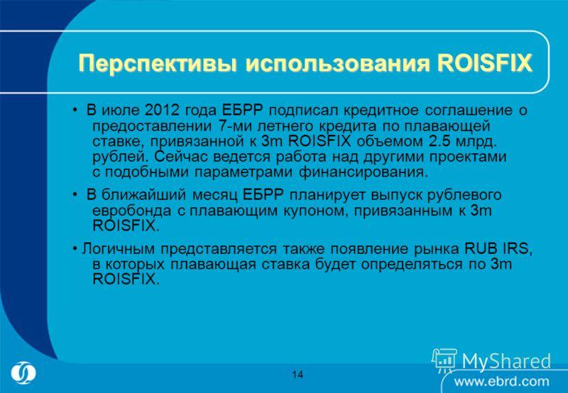 14 Перспективы использования ROISFIX В июле 2012 года ЕБРР подписал кредитное соглашение о предоставлении 7-ми летнего кредита по плавающей ставке, привязанной к 3m ROISFIX объемом 2.5 млрд. рублей. Сейчас ведется работа над другими проектами с подоб