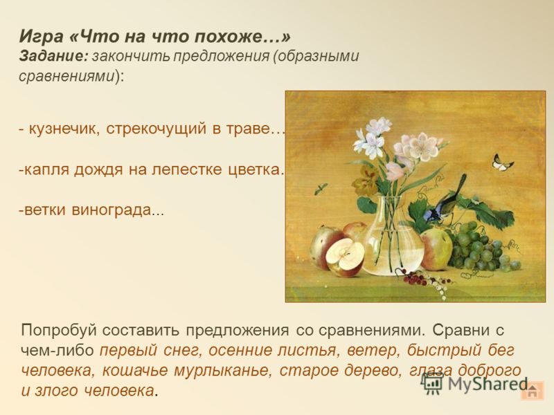 Игра «Что на что похоже…» Задание: закончить предложения (образными сравнениями ): - кузнечик, стрекочущий в траве…. -капля дождя на лепестке цветка… -ветки виноград а … Попробуй составить предложения со сравнениями. Сравни с чем-либо первый снег, ос