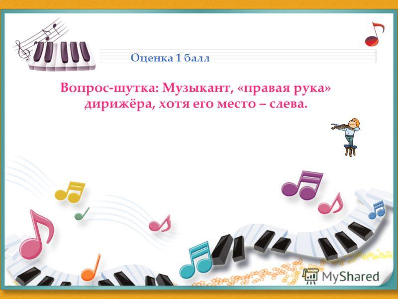 Оценка 1 балл Вопрос-шутка: Музыкант, «правая рука» дирижёра, хотя его место – слева.