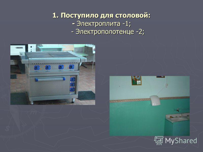1. Поступило для столовой: - Электроплита -1; - Электрополотенце -2;
