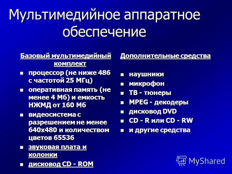 Мультимедийное аппаратное обеспечение Базовый мультимедийный комплект n процессор (не ниже 486 с частотой 25 МГц) n оперативная память (не менее 4 Мб) и емкость НЖМД от 160 Мб n видеосистема с разрешением не менее 640х480 и количеством цветов 65536 n