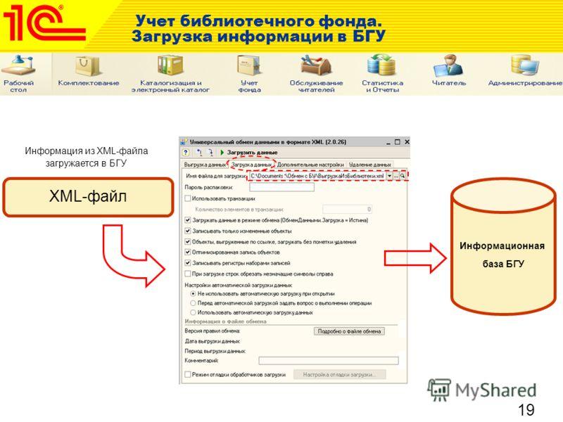 19 Учет библиотечного фонда. Загрузка информации в БГУ XML-файл Информация из XML-файла загружается в БГУ Информационная база БГУ