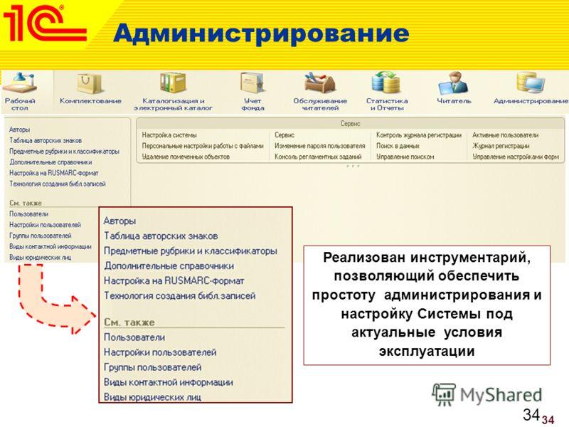 34 Администрирование Реализован инструментарий, позволяющий обеспечить простоту администрирования и настройку Системы под актуальные условия эксплуатации