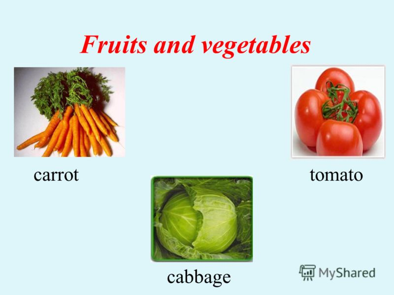Fruits and vegetables carrottomato cabbage