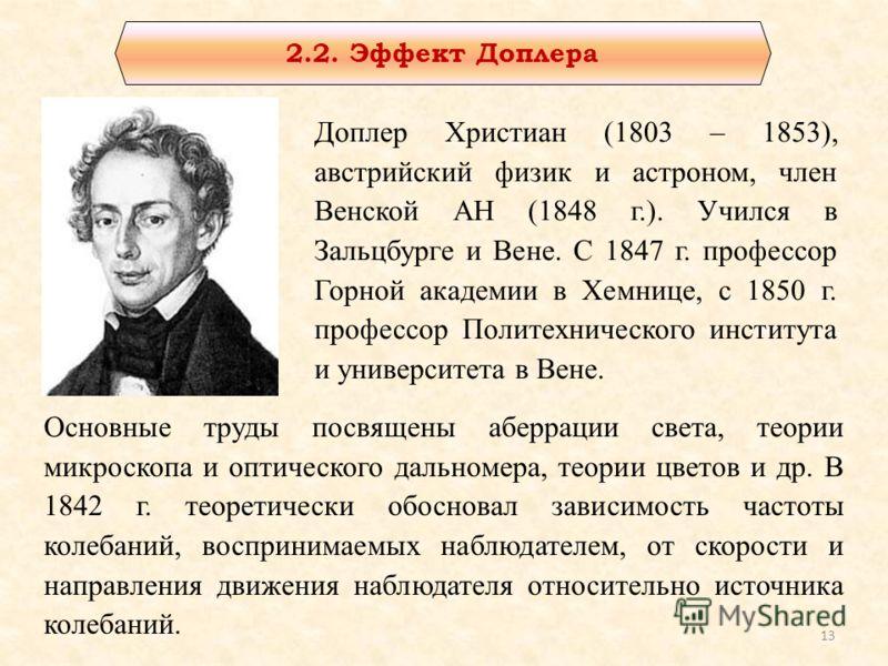 Доплер Христиан (1803 – 1853), австрийский физик и астроном, член Венской АН (1848 г.). Учился в Зальцбурге и Вене. С 1847 г. профессор Горной академии в Хемнице, с 1850 г. профессор Политехнического института и университета в Вене. Основные труды по