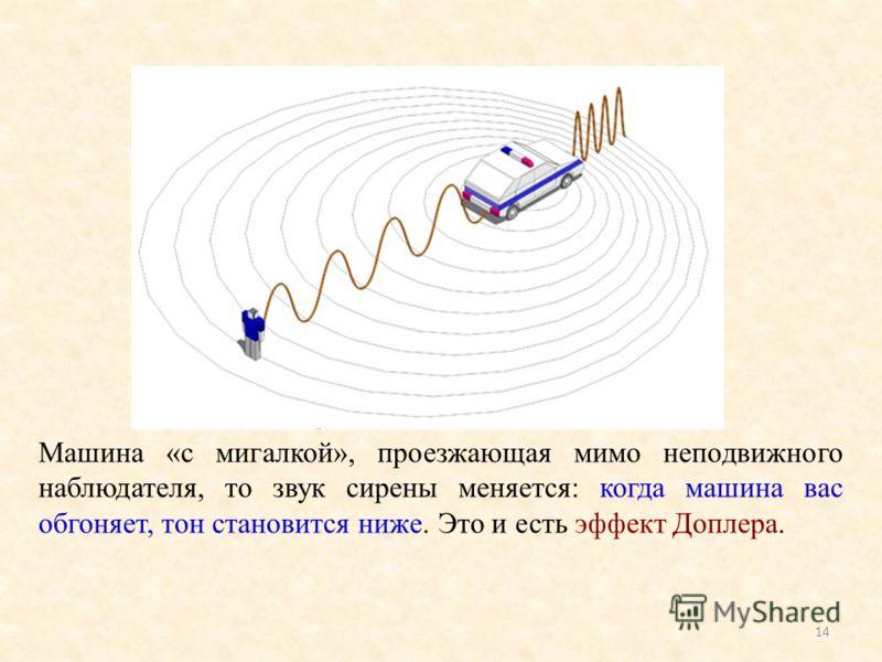 Машина «с мигалкой», проезжающая мимо неподвижного наблюдателя, то звук сирены меняется: когда машина вас обгоняет, тон становится ниже. Это и есть эффект Доплера. 14