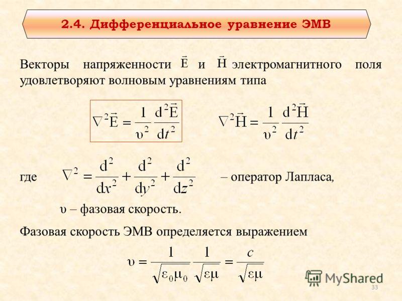 2.4. Дифференциальное уравнение ЭМВ Векторы напряженности и электромагнитного поля удовлетворяют волновым уравнениям типа где– оператор Лапласа, υ – фазовая скорость. Фазовая скорость ЭМВ определяется выражением 33