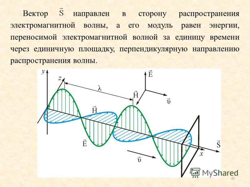 45 Вектор направлен в сторону распространения электромагнитной волны, а его модуль равен энергии, переносимой электромагнитной волной за единицу времени через единичную площадку, перпендикулярную направлению распространения волны.