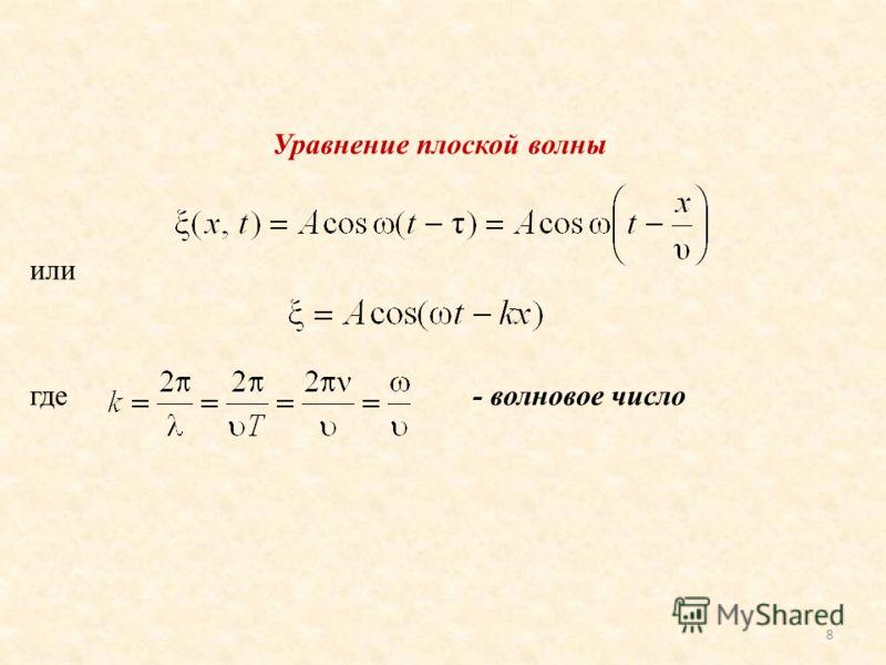 Уравнение плоской волны или где- волновое число 8
