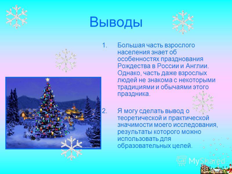 Выводы 1.Большая часть взрослого населения знает об особенностях празднования Рождества в России и Англии. Однако, часть даже взрослых людей не знакома с некоторыми традициями и обычаями этого праздника. 2.Я могу сделать вывод о теоретической и практ