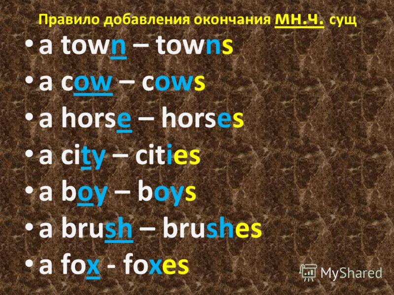 Правило добавления окончания мн.ч. сущ a town – towns a cow – cows a horse – horses a city – cities a boy – boys a brush – brushes a fox - foxes