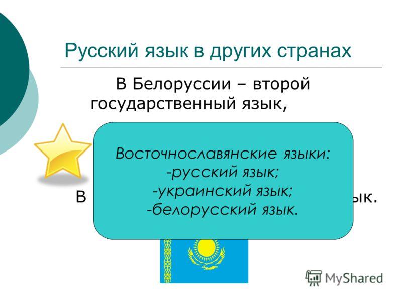 Русский язык в других странах В Белоруссии – второй государственный язык, В Казахстане – официальный язык. Восточнославянские языки: -русский язык; -украинский язык; -белорусский язык.