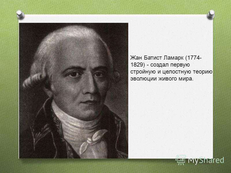 Жан Батист Ламарк (1774- 1829) - создал первую стройную и целостную теорию эволюции живого мира.