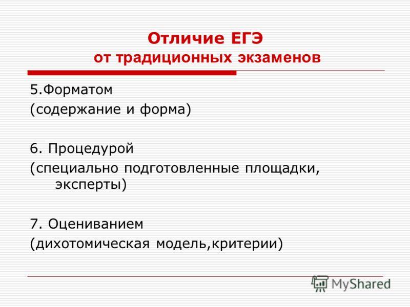 Отличие ЕГЭ от традиционных экзаменов 5.Форматом (содержание и форма) 6. Процедурой (специально подготовленные площадки, эксперты) 7. Оцениванием (дихотомическая модель,критерии)