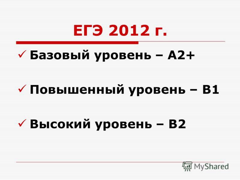 ЕГЭ 2012 г. Базовый уровень – А2+ Повышенный уровень – В1 Высокий уровень – В2