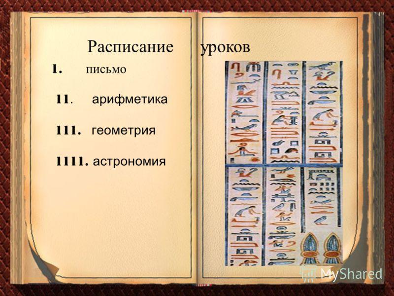 11. арифметика 1. п исьмо Расписание уроков 111. геометрия 1111. астрономия